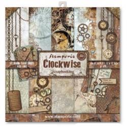 Bloc 10 Hojas papel Scrap Stamperia - Clockwise